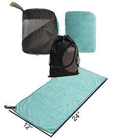 JAVOedge Compact Blue Fold Up Travel Wash Cloth  Towel Zipper Case 118 x 236 and Bonus Drawstring Storage Bag -- For more information, visit image link.