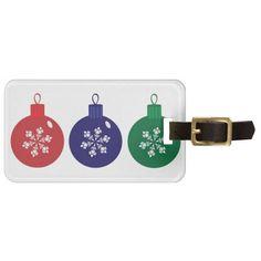 Christmas Baubles Luggage Tag  #Christmas #Baubles #Bag #Tag