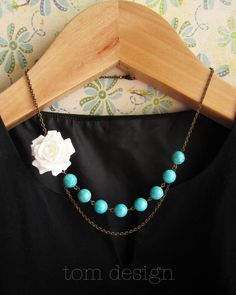 Olivia Rose Bud Necklace  White Rose with Turquoise by tomdesign, $26.00
