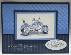 motorcycle stamp from SU  with tutorial on how to make the card