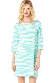 Dinah Shift Dress in Mint / ShopSosie #Mint #Ivory #Printed #Shift #Dress #ShopSosie