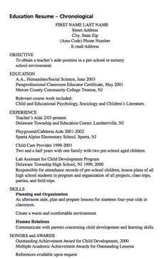Resume for teachers aide objectives