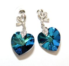 Bermuda Blue Swarovski Heart Crystal Earrings, Stunning Earrings, Sparkle, Ribbon, Fairy, Love, Heart, Swarovski, Bridal, Party, Anniversary, by GlitzAndLove, $28.00