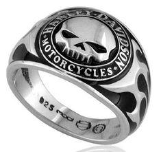 Harley-Davidson .925 Silver Skull W/Bk Enamel Ring (13)   http://www.bikeraa.com #harleydavidsongifts