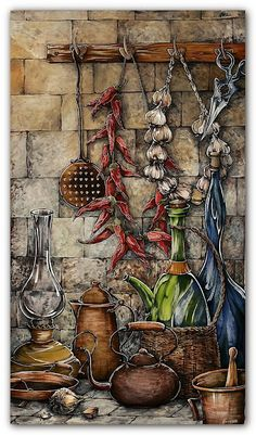 ru/Sova kitchen www. Vintage Pictures, Vintage Images, Images Victoriennes, Deco Originale, Decoupage Vintage, Still Life Art, Country Art, Kitchen Art, Food Art