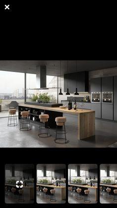 Modern Kitchen Interiors, Modern Kitchen Cabinets, Modern Kitchen Design, Home Decor Kitchen, Interior Design Living Room, Küchen Design, House Design, House Cladding, Apartment Interior Design
