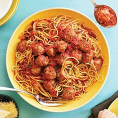 """Campanile's SPAGHETTI & MEATBALLS in RED SAUCE - """"This dish illustrates the principle that, as chef Mark Peel says, """"It's not what you do, it's how you do it."""" The meatballs have three kinds of meat for flavor; they're made carefully and not overworked; and the sauce is clingy..."""""""