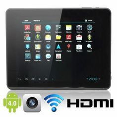 "9.7  Tablet PC  This Tablet comes with a 9.7"" screen, android 4.0 operating system, 16 GB, 10 point TFT Touch screen, HDMI in/output, 2.0 mega pixels front and rear camera, smart G-sensor and can connect to Wifi."