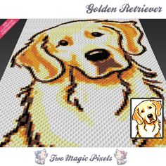 Golden Retriever is a graph pattern that can be used to crochet a children blanket using C2C (Corner to Corner), TSS (Tunisian Simple Stitch) and other techniques. Alternatively, you can use this graph for knitting, cross stitching and other crafts.   This graph design is 80 squares wide by 100 squares high.    It requires 6 colors.   Pattern PDF includes:   - color illustration for reference   - color squares pattern - color counts - C2C row-by-row instructions  This listing is for a…