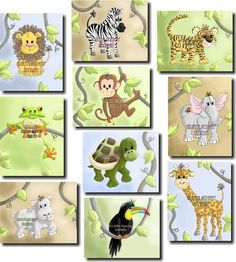 Set of 10 Jungle Animal Bedroom Nursery 8 x 10 Wall by ToadAndLily, $50.00