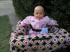 Retro red/pink/black  baby shopping cart by littlestitches59, $40.00