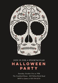 """Sugar Skull"" Happy Halloween party invitation design by Minted artist Stacey Hill. Enjoy luxe paper and printing, with customizable designs from our community of independent artists."