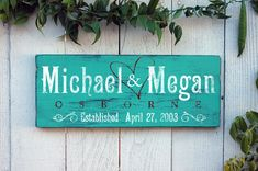 Personalized Family Established Sign - Rustic and Distressed Wood Makes Great Home Decor & Wedding Gift in Aqua Green. $65.00, via Etsy.