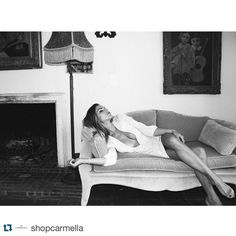#NinaSenicar Nina Senicar: #Repost @shopcarmella with @repostapp. ・・・ Little taste of our shoot with @NinaSenicar coming up on the blog soon!  #CARMELLAisforLOVERS Nina wears the Emeline silk dress in creamy magnolia available on @shopbop! #ninasenicar