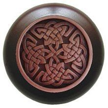 Notting Hill - Celtic Isles Wood Knob in Antique Copper/Dark Walnut wood finish