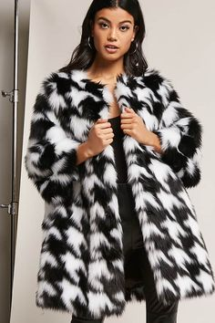 422858e4e02 Product Name SHACI Faux Fur Houndstooth Coat