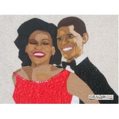 Elegance- A magnet made from the Elegance quilt which pictures President and Ms. Obama