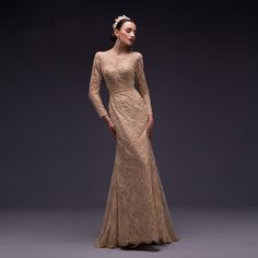 Aliexpress.com   Buy Gorgeous Beaded Long Sleeves Evening Dress 2016 Sexy  Lace Scoop Mermaid Evening Dresses Long Formal Prom Gown AC736 from  Reliable gown ... 502dfb6de213