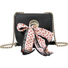 Love Moschino I Love Scarf Mini flap bag ($215) ❤ liked on Polyvore featuring bags, handbags, shoulder bags, black, hand bags, black cross body purse, mini crossbody purse, crossbody handbags and black shoulder bag