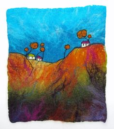 Felt Painting. Fibre Art. Felted Wall Hanging. Fibre Art. 'Hill Houses' by Lorna Soar. Felted Landscape