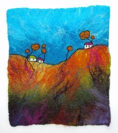 Felt Painting. Fibre Art. Felted Wall Hanging. Fibre Art. 'Hill Houses' by Lorna Soar. Felted Landscape