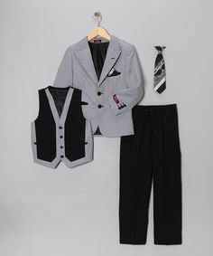 Take a look at this White & Black Five-Piece Suit Set - Toddler & Boys by Angels New York on #zulily today!