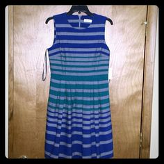 Calvin Klein Dress Blue, gray, and turquoise sleeveless dress. Zipper on the back. The dress has a tag, but no price.  Make me an offer if interested. Calvin Klein Dresses