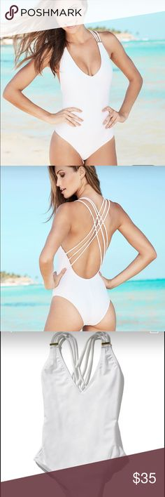 """Adore Me Swim New never worn adore me me swimsuit in style """"Kaia"""". This is a super cute white one piece with crossing straps in the back and gold hardware on the front. This is a super flattering swim suit! I accept reasonable offers Adore Me Swim One Pieces"""
