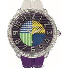 Tendence designs are highly distinguishable timepieces with their unique contemporary dimension, which emerges from the complementary fusion of innovation, style and audacious design. Oversized Watches, Unusual Watches, Unisex, Watch Sale, Rolex Watches, Bracelet Watch, Bling, Crystals, Purple