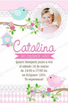 kit imprimible pajaritos invitación cumpleaños candybar Baby 1st Birthday, Birthday Cake Girls, Birthday Parties, Born Baby Photos, Bird Party, Business Card Psd, Bird Theme, Ideas Para Fiestas, Girl Cakes