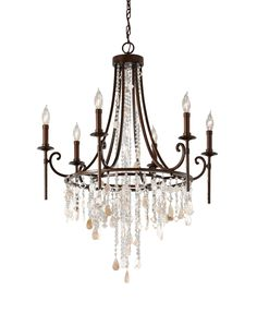 Six Light Single Tier Chandelier, Traditional, Shells, Dining Room, Foyer, Bedroom, Bronze