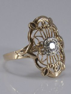 Vintage 14K Yellow Gold Diamond Filigree Ring  by Ringtique, $295.00