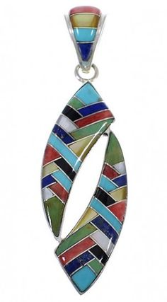 Multicolor Inlay Genuine Sterling Silver Jewelry Pendant PX28975 http://www.silvertribe.com