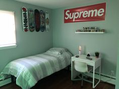 #hypebeast #hypebeastbedroom #supreme #supremebedroom Hypebeast  Supreme   Urban boys room   Nicos bedroom Hypebeast bedroom Ikea bedroom Ikea furniture