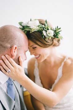 Woodsy rustic wedding ideas meet feminine design in this styled shoot. White Floral Crowns, Floral Crown Wedding, Rustic Wedding Flowers, Flower Crown Veil, White Flower Crown, Flower Crowns, Bridal Hairstyle, Hairstyle Ideas, Wedding Hairstyles