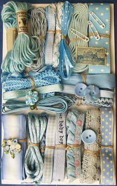 Light Blue Crazy Quilt Embellishment Assortment - vintage and new ribbons, trim, lace, buttons, embroidery thread Crazy Quilting, Lace Ribbon, Ribbon Embroidery, Love Blue, Blue And White, Costura Vintage, Vintage Accessoires, Vintage Sewing Notions, Vintage Sewing Machines