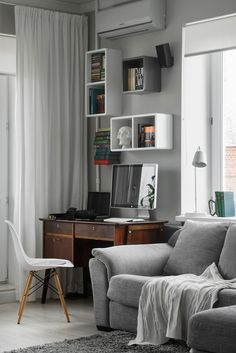 Compact Bachelor Haven in Moscow Defined by the Mix of Modern with Retro - http://freshome.com/2013/11/29/compact-bachelor-haven-moscow-defined-mix-modern-retro/