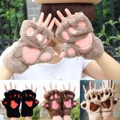 Soft Warm Winter Women Paw Gloves Fingerless Fluffy Bear Cat Plush Paw Chic HOT in Clothes, Shoes & Accessories, Women's Accessories, Gloves & Mittens   eBay!