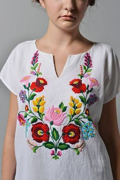 Folk Embroidery Patterns Ethnic Blouse with Kalocsa Style Embroidery by HannaModernEthno - Mexican Embroidery, Hungarian Embroidery, Folk Embroidery, Embroidery Fashion, Embroidery Dress, Floral Embroidery, Embroidery Stitches, Embroidery Tattoo, Embroidery Designs