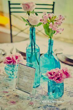 casamento azul rosa e verde - Pesquisa Google