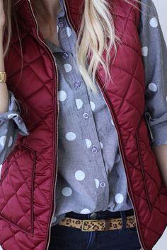 Love this combo. Harvard Vest - Crimson @mindymaesmarket