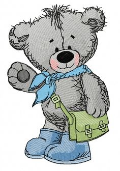 Teddy bear goes to school 2 machine embroidery design. Machine embroidery design. www.embroideres.com