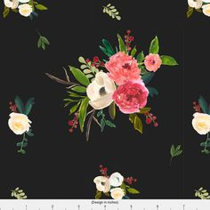 Floral Fabric  Winter Breeze Florals In Black By by Spoonflower