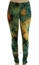Tie Dye leggings green and orange. So fun with a solid womens blouse or sweater Kali Leggings In Turquoise And Orange 2015 fashion