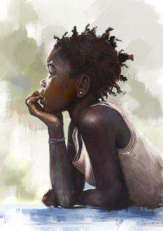 53 New Ideas For African American Black Art Artworks Paintings Black Girl Art, Black Women Art, Art Girl, Art Women, Black Art Painting, Black Artwork, Hair Painting, Watercolor Painting, African American Artwork