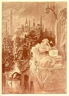 """Albert Robida,  « Loisirs littéraires au XXe siècle », illustration pour """"La Fin des Livres"""" in 'Contes pour les bibliophiles', textes d'Octave Uzanne, Paris, Albert Quantin, 1895"""