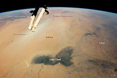 Lake Chad and the surrounding region, photographed by an astronaut aboard the…