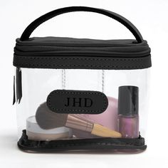 Jon Hart Clear Mini Makeup Case Shown in Black Leather Trim