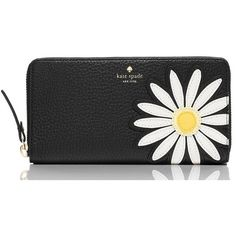 Kate Spade Down The Rabbit Hole Daisy Applique Lacey (6,435 THB) found on Polyvore featuring women's fashion, bags, wallets, kate spade wallet, daisy bags, rabbit fur bag, billfold wallet and kate spade bags
