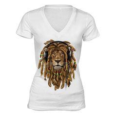 e986482e XtraFly Apparel Women's Lion Rasta Reggae V-neck Short Sleeve T-shirt